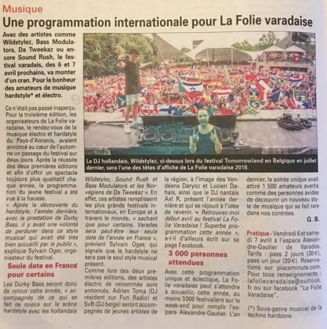 Article de l'Echo d'Ancenis sur LFV Festival - Festival hardstyle français.
