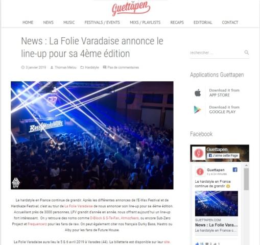 Article de Guettapen sur LFV Festival - Festival Hardstyle français.